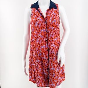 Splendid Poppy Print Button Up Sleeveless Tunic S